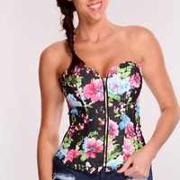 Black Floral Print Corset Top