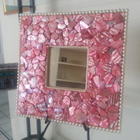 Pink Mother of Pearl Mosaic Mirror