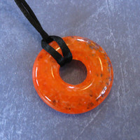 Orange Necklace, Orange Donut, Fused Glass Necklace, Orange Jewelry - Looking Orange - 4093 -3