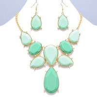 Chunky Roman Mosaic Mint Green Teardrop Pendant STATEMENT Necklace Earrings Set