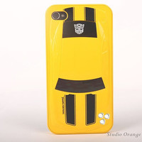 1PC Bling Crystal Transformer Bumblebee Back Plastic iPhone 4 Skin Cover, Mobile Phone Case