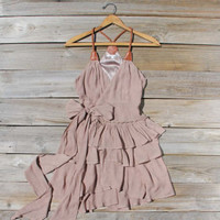 Scattered Ruffles Dress in Sand, Sweet Women's Bohemian Clothing