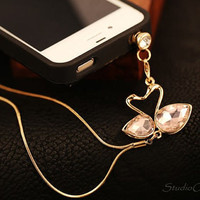 1PC Bling Crystal Pink Couple Swans Chain Earphone Antidust Plug Charm for iPhone 5 & 4, Samsung S3, Nokia