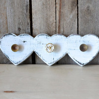 Vintage White Heart Wooden Jewelry or Key Hanger With Gold Knobs