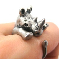 Realistic Rhinoceros Rhino Animal Wrap Ring in Silver - Sizes 5 to 10 Available