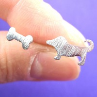 Puppy Dog and Bone Animal Stud Earrings in Sterling Silver