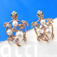 Turtle Tortoise Sea Animal Stud Earrings in Gold with Pearls and Bling