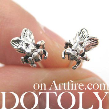 3D Sterling Silver Realistic Mosquito Fly Insect Animal Stud Earrings from Dotoly Plus