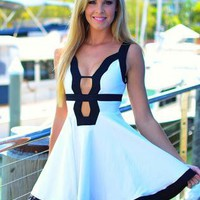 White Dress with Black Trim and Cutout Front &amp; Back Detail