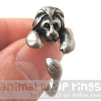 Realistic Lion Cat Animal Wrap Around Hug Ring in Silver Sizes 4 to 9