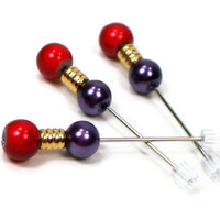 Counting Pins, Marking Pins, Cross Stitch, Needlepoint, Hardanger, Purple, Red,  DIY Crafts, TJBdesigns
