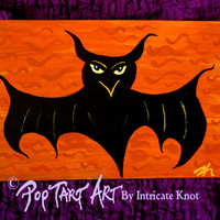 Folk Art / Primitive / Recycled / Cardboard Art - Original Painting - Bat - Halloween - IntricateKnot