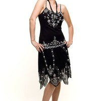 ROARING 20&#x27;s Black Beaded Flapper Gatsby Dress - Unique Vintage - Prom dresses, retro dresses, retro swimsuits.