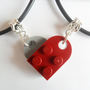 Dark Red and Gray Heart His and Her Necklace Set, Made Using Lego Bricks.