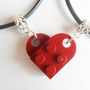 Dark Red Heart His and Her Necklace Set, Made Using Lego Bricks.