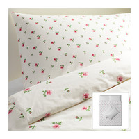 EMELINA KNOPP Quilt cover and 4 pillowcases, white, pink - white/pink - 200x200/50x80 cm - IKEA