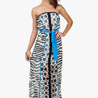 ABSTRACT CHIFFON TUBE MAXI W/ SASH