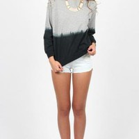 Black and Grey Ombre Top with Studded Shoulder Detail