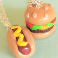 Hot Dog and Cheeseburger Best Friend Necklaces  - Whimsical &amp; Unique Gift Ideas for the Coolest Gift Givers