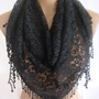 Black Lace Triangle Scarf-ESCHERPE