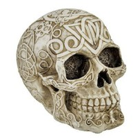 Celtic Owl Knotwork Human Skull Statue Pagan: Home & Kitchen