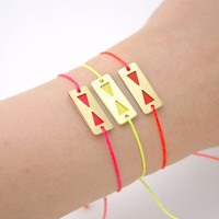 Minimalist Geometric  Enamelled Triangle Bracelet - Neon Orange - Neon Pink - Neon Yellow Hand Painted Modern Jewelry , Friendship Bracelet