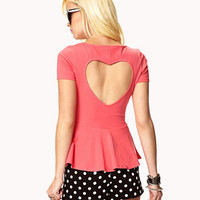 Cutout Heart Peplum Top | FOREVER 21 - 2048116721