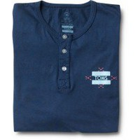 Unisex Navy Blue Diamond Print Long Sleeve Henley | TOMS.com