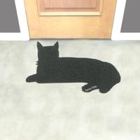 Cat rug. Cute doormat. Personalize your floor mat. Kitty silhouette