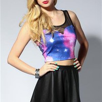 galaxy print crop tank top with mesh illusion - 1000049178 - debshops.com
