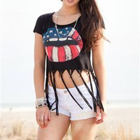 fringe bottom tee with american flag lip screen with stones - 1000049296 - debshops.com