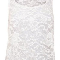 Pilot Scallop Edge Lace Vest Top in Cream