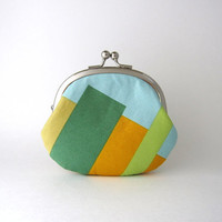 Frame Coin Purse- green bars