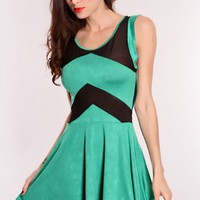 Green Black Mesh Cutout Dress