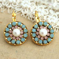 Rhinestone earrings Pastel Aqua pink and Pearls - 14k Plated gold earrings with real Swarovski crystals.
