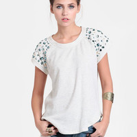 Bejeweled Sweatshirt Top In Beige - $48.00 : ThreadSence, Women&#x27;s Indie &amp; Bohemian Clothing, Dresses, &amp; Accessories