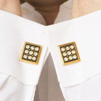 Vintage Cuff links Gold Toned Cufflinks Rectangle Black and White Rhinestones USSR