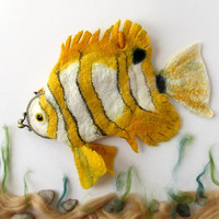 Felted purse cosmetic Yellow Fish  Butterfly  octopurse