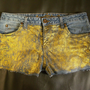 Gold Trendy Glitter Shorts Women size 13 Festival Statement Clothes