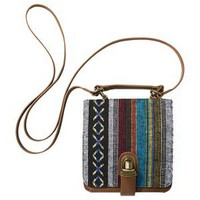 Mossimo Supply Co. Square Crossbody Bag with Ethnic Print Flap - Brown