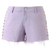 Purple Denim Studded Shorts with Shredding Detail