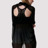 Black Draped Shirt with Cutout Lace Crochet Back