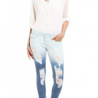 Special A Destroyed Ombre Capri Denim