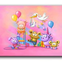 Amazon.com: Dianoche Designs Canvas Art FREE SHIPPING - Baby Animals Party Pink: Arts, Crafts &amp; Sewing