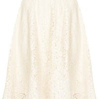 Cream Lace Calf Skater Skirt - Railroad  - Clothing