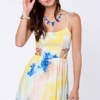 Tie-Dye Caramba Blue and Yellow Print Dress