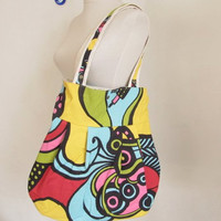 Double-sided canvas bag /pop art printed bag /Shoulder Bag/messenger bag / diaper bag / Purse/ Everyday bag