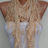 New - Trendy Scarf - Mother&#x27;s Day Gift- Tan Color Scarf with Tan Trim Edge