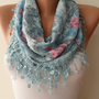 New Scarf - Mother&#x27;s Day Gift - Light Blue Scarf with Same Color Trim Edge - Flowered Fabric - Summer Colors