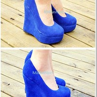 Free shipping Leather Blue wedge shoes